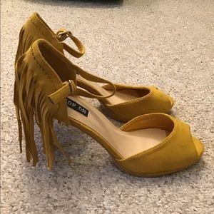 Mustard Fringed Heels